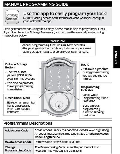 Schlage Sense Programming Guide