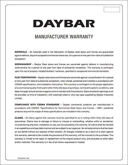 Daybar Manufacturer Warranty