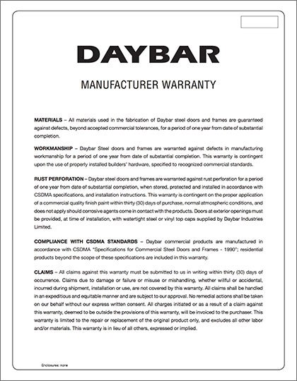 Daybar Manufacturer Warranty