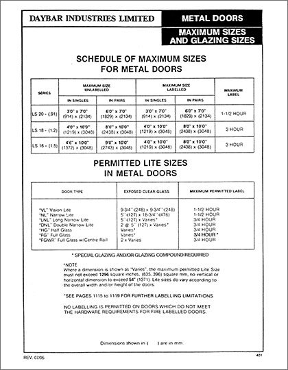 Daybar Maximum Sizes