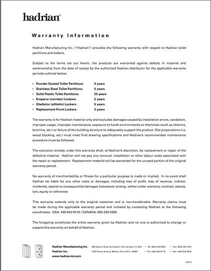 Hadrian Product Warranty