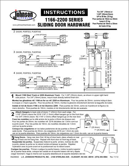 Johnson 1166 Series Installation Instructions