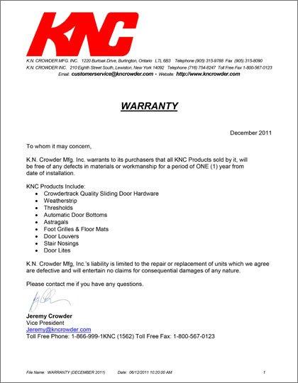 K.N. Crowder Warranty