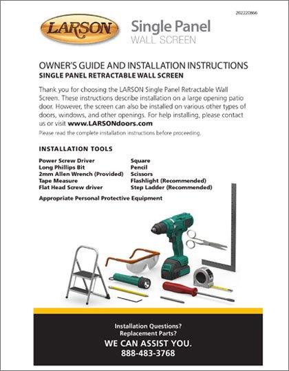 Larson Wall Screen Single Panel Installation