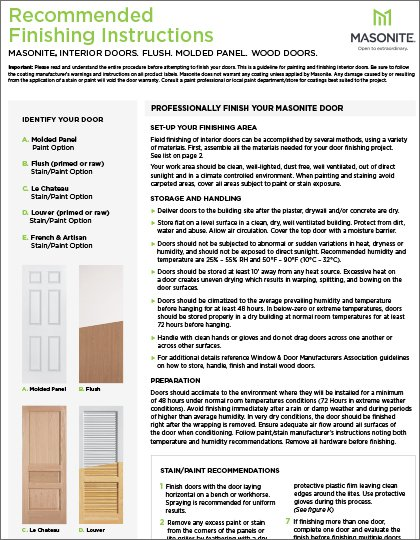 Masonite Finishing Instructions