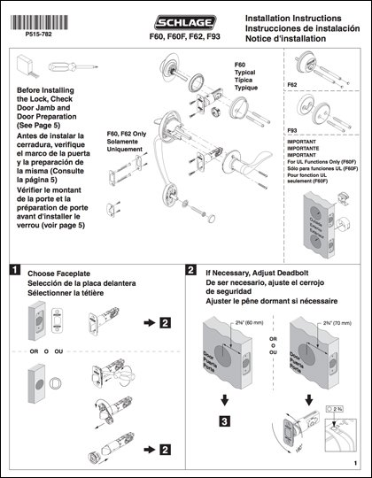 Schlage F-Series Installation Instructions