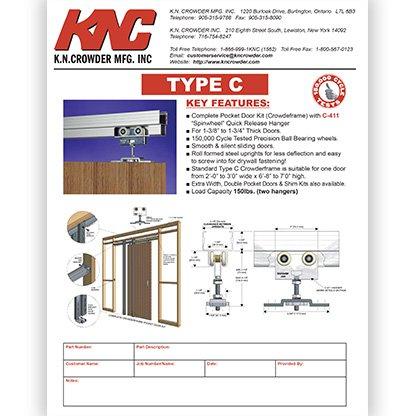 Type C Pocket Door Track