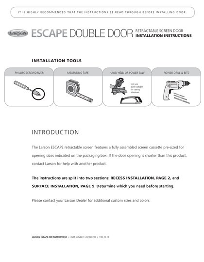 Escape Double Installation Instructions
