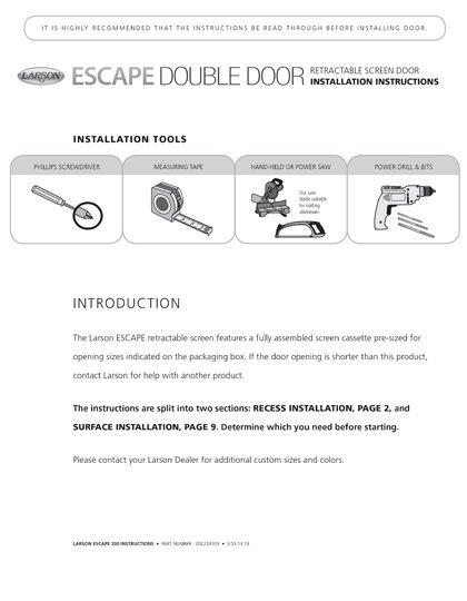 Escape Double Installation Instructions