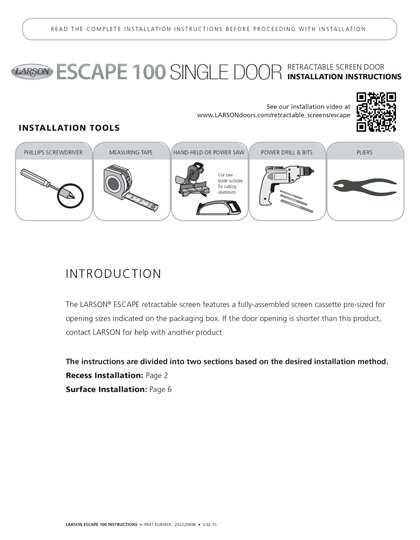 Escape Single Installation Instructions