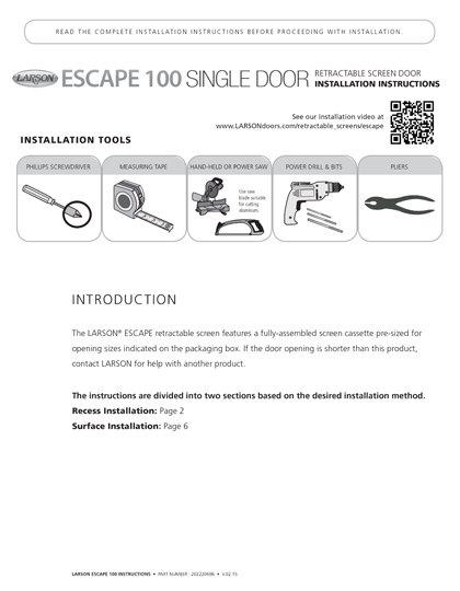 Escape Single Installation Instructions
