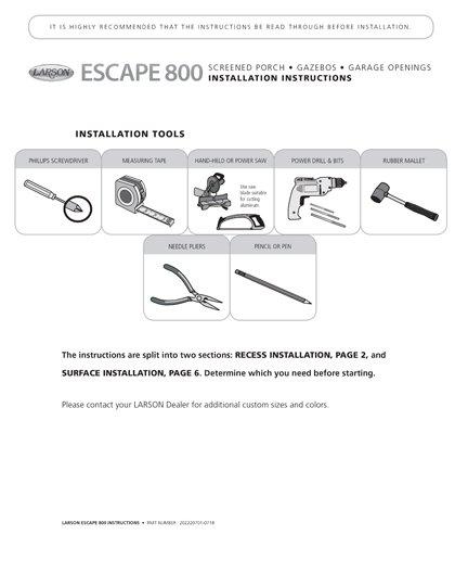 Grandvue E800 Installation Instructions