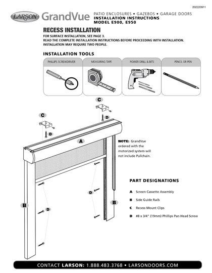 Grandvue E900 and E950 Installation Instructions